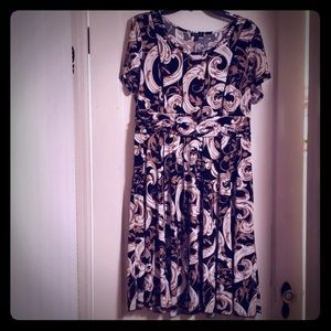 Sami and Jo PXL Paisley Black Tan White Dress